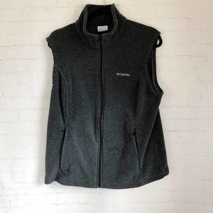 [Columbia] gray fleece zip up vest XL
